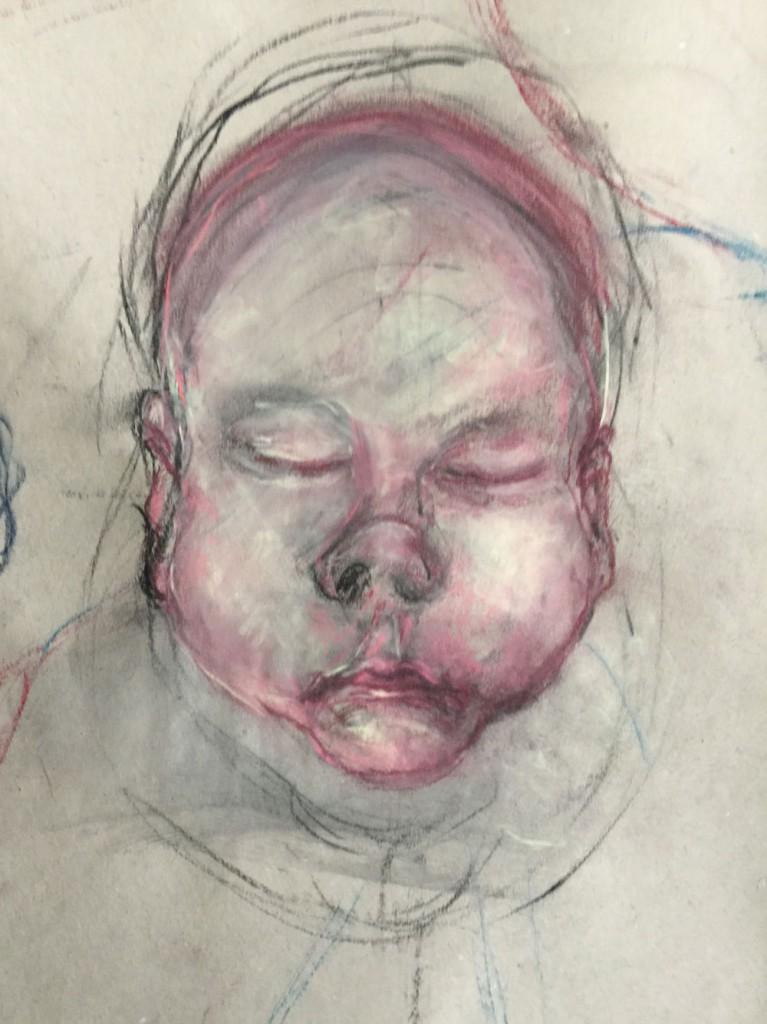 Sie sehen ein Babygesicht - gezeichnet mit Oelpastell.